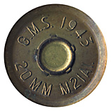 20 x 110mm HS404 TP  United States G.M.S. 1943 20MM M21A1. head view.